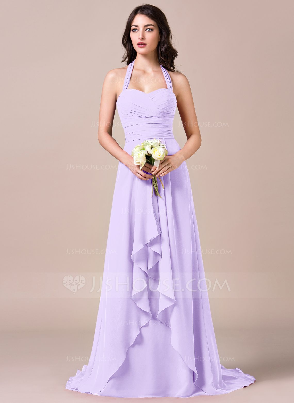 A lineprincess halter sweep train chiffon bridesmaid dress with a lineprincess halter sweep train chiffon bridesmaid dress with bows ombrellifo Images