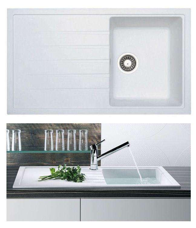 Compact Kitchen Sink Island Chandeliers Bluci Piazza 1 0 In White Granite Sinks