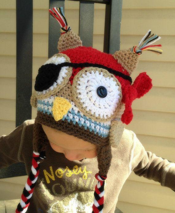 Häkeln Sie Owl Piratenhut Fotografie-Prop von PinkLemonKnits ...