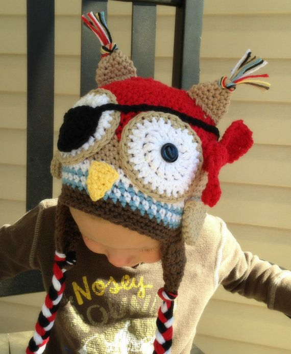 Crochet Owl Pirate Hat | Things to do | Pinterest | Sombreros de ...