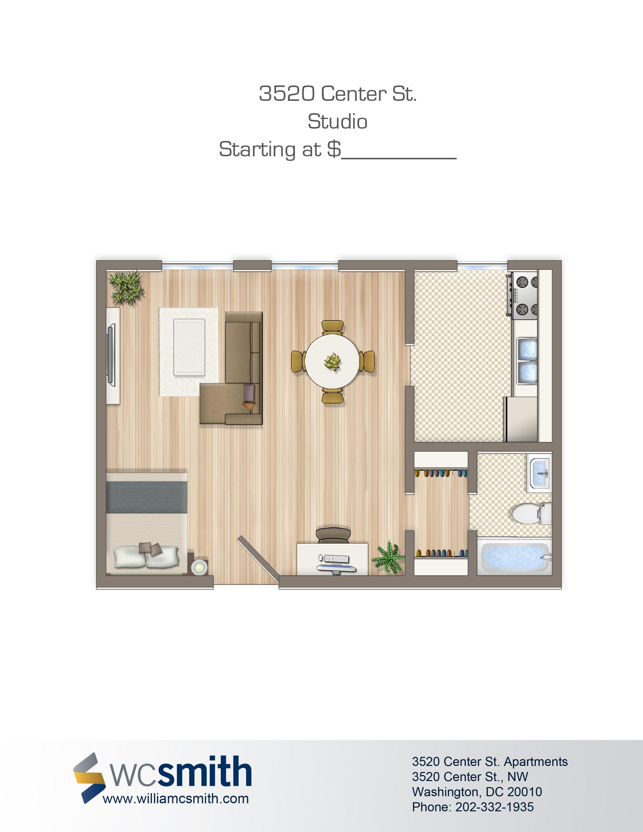 Studio/Efficiency Floor Plan Alpha House Apartments in