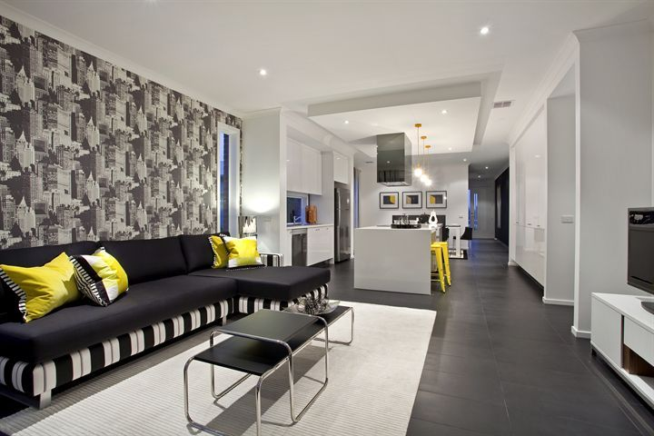 Stylish living room yellow black and white lounge - Black white yellow living room ideas ...