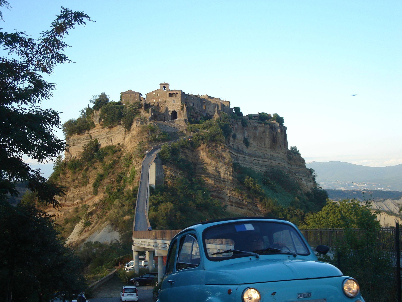 Vintage Fiat 500s are just the right size for Civita di Bagnoreggio.