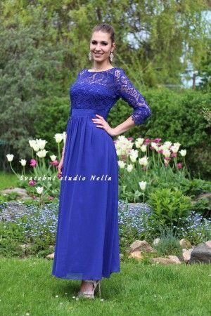 Modré dlouhé plesové společenské šaty. Ceny na www.svatebninella.cz   plesové šaty 0ceefc90ab