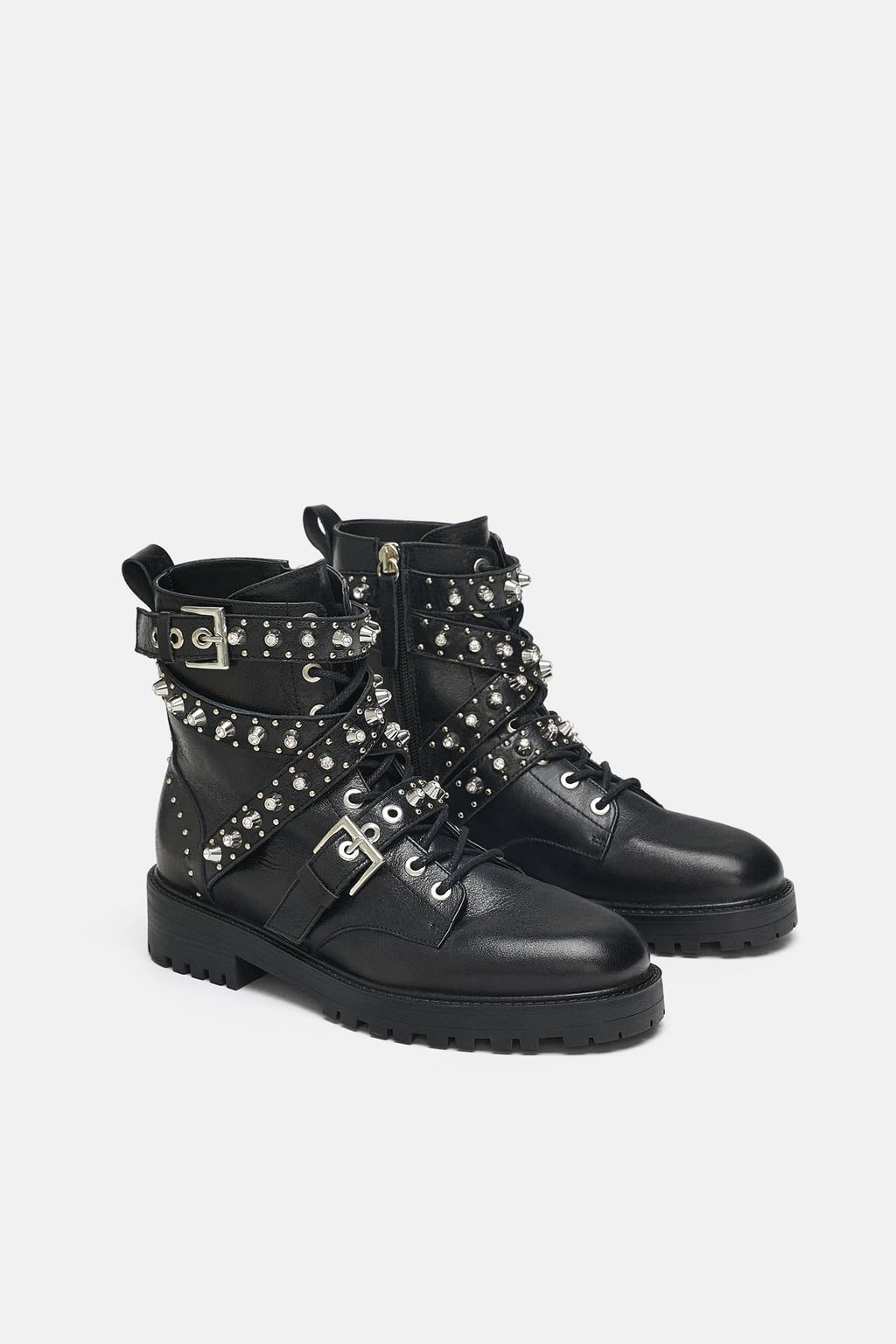 80ee7981fa75 Image 1 of LEATHER ANKLE BOOTS WITH JEWEL DETAILS from Zara