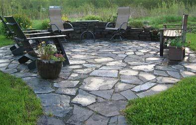 slate patio backyard landscaping
