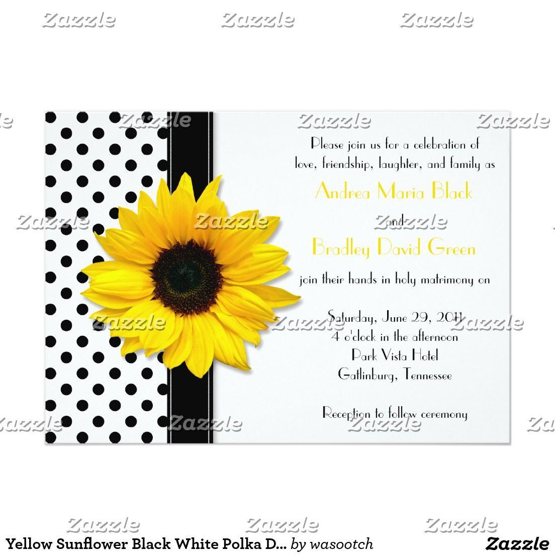 Casamento branco das bolinhas do preto amarelo do convite 12.7 x ...