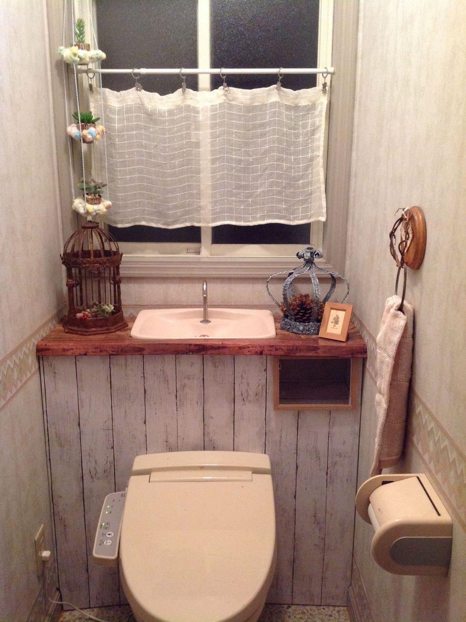 突っ張り棒 カラーボード リメイクシートでタンクレス風トイレ