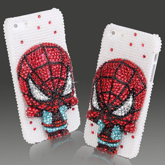 FREE SHIPPING   3D Limited Edition Crystal Bling Spider Man Hard Case for iPhone 5, $19.00