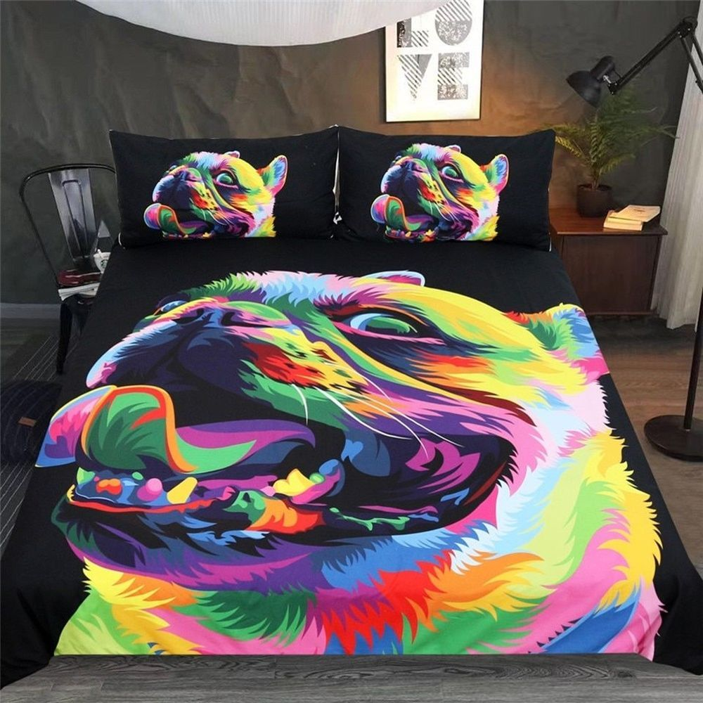 Colorful Pet Dog Bedding Set Duvet Cover 3 Piece Sets Loyal Bulldog By Weer Unbranded Contemporary Bedding Sets Beautiful Bedding Sets Bedding Set