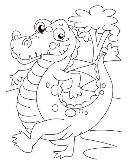 Alligator on evening walk coloring pages | Download Free Alligator ...