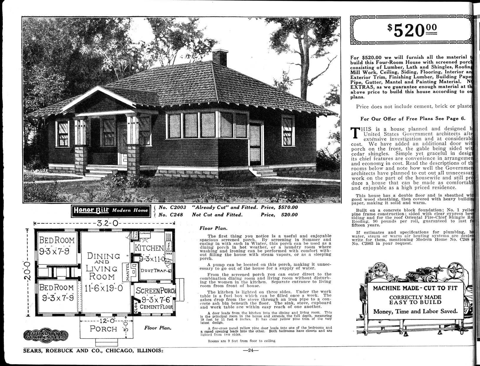 1922 Sears Roebuck Home, The Wabash, Model # 2003