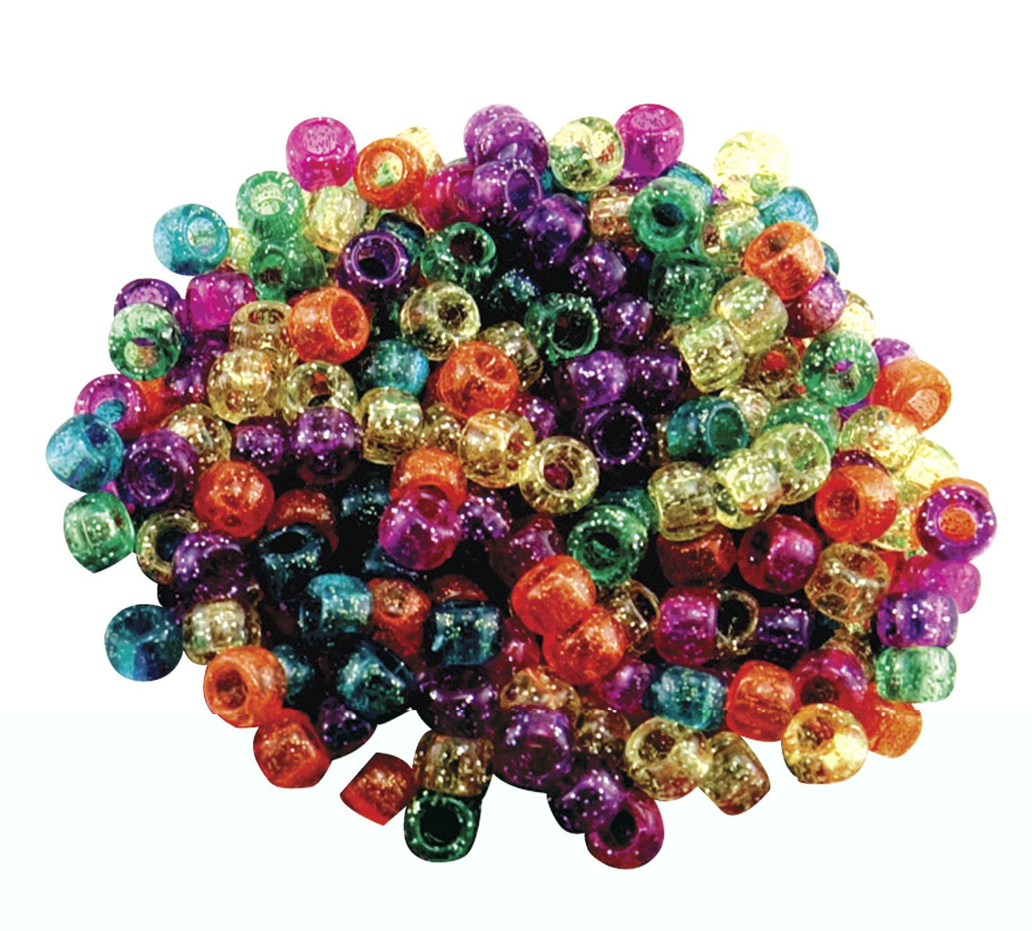 Hygloss Plastic Pony Bead, Assorted Glitter Color, Pack Of