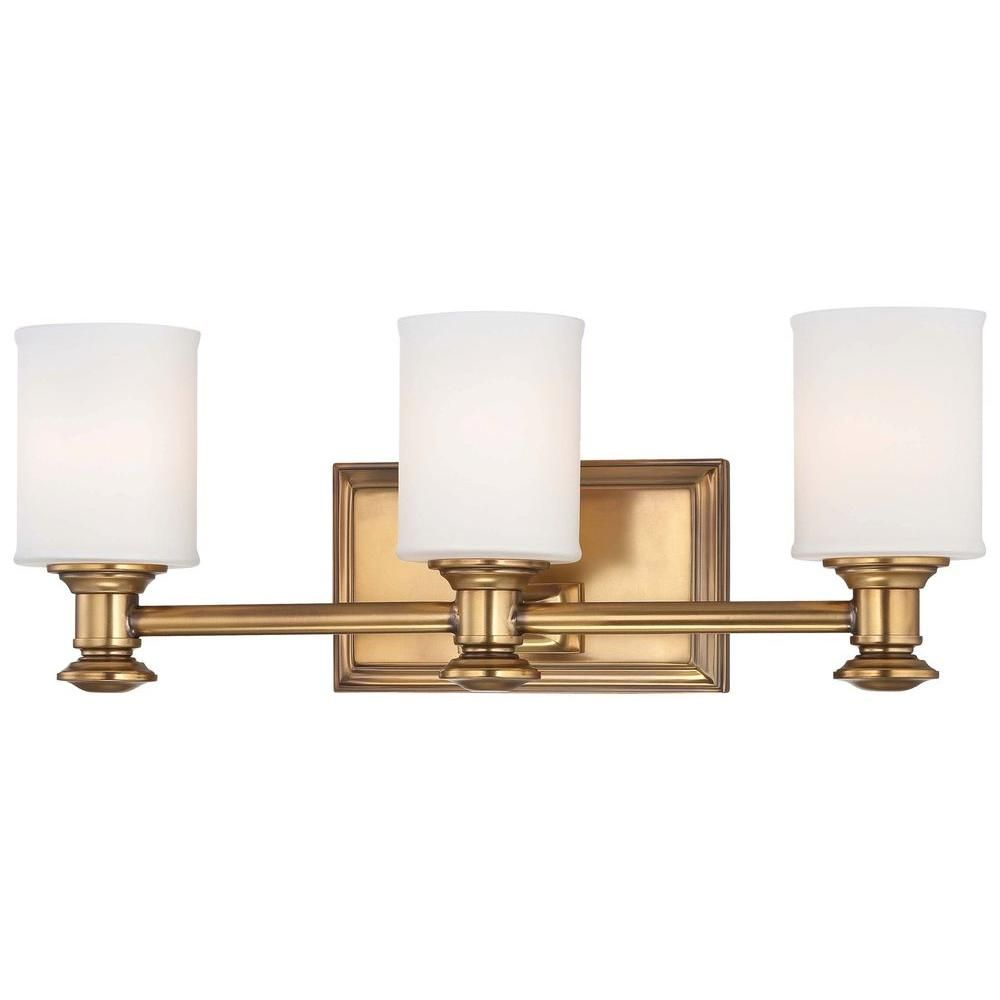 Minka Lavery Harbour Point 3 Light Bath In Liberty Gold With Etched Opal Glass