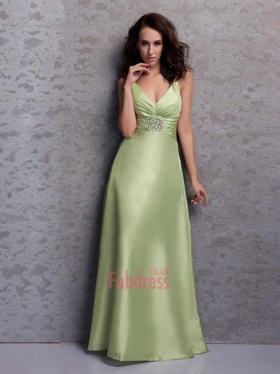 A-line V-neck Beading Sleeveless Floor-length Taffeta Prom Dresses / Evening Dresses  $207.99 Evening Dresses