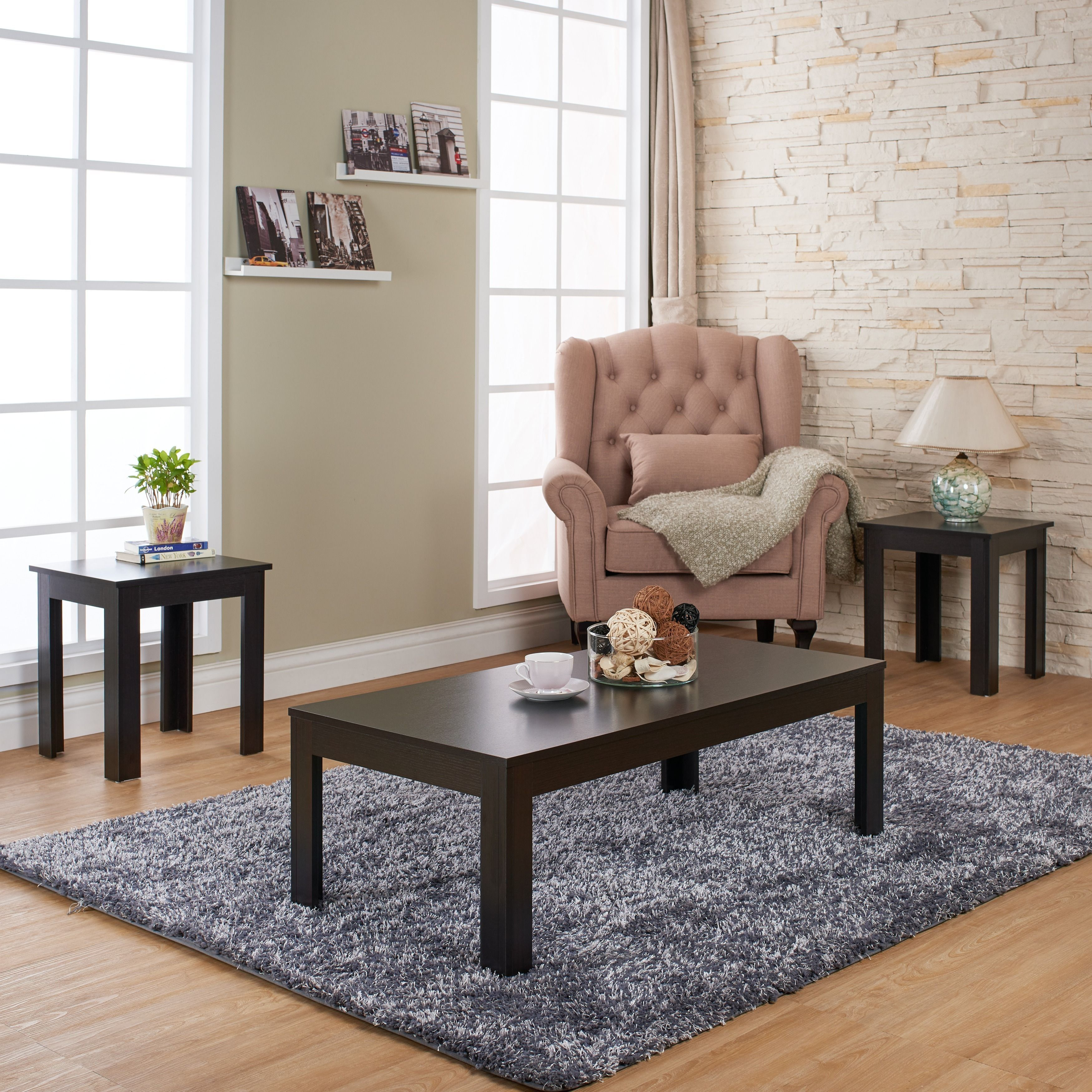 Furniture of America Artemie Modern 3-piece Coffee and End Table Set (Cappuccino), Brown