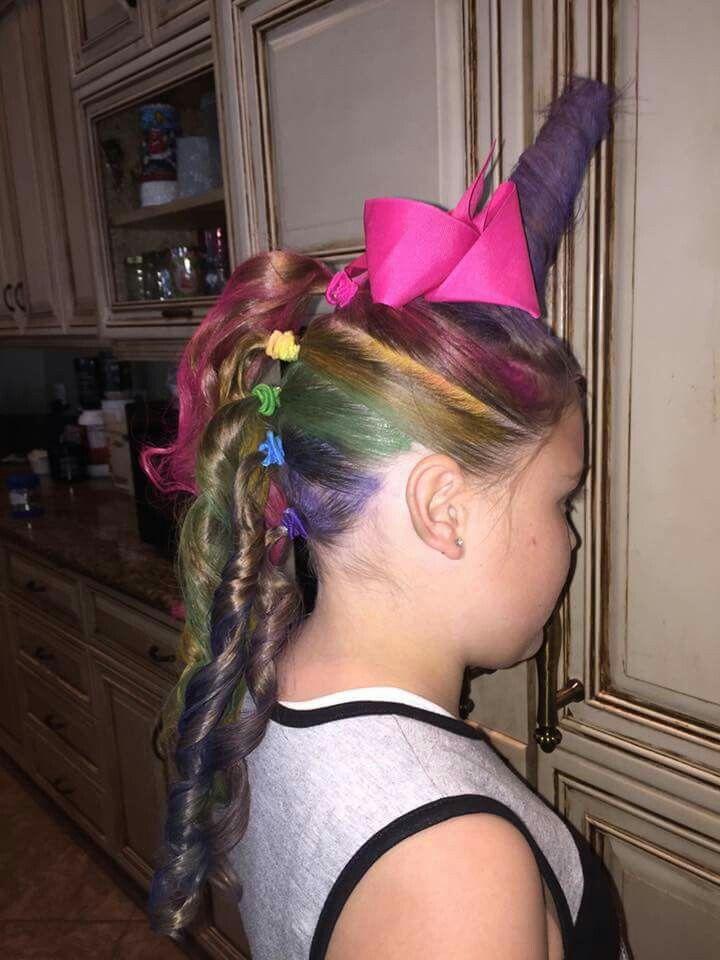 Unicorn hair style for little girls.