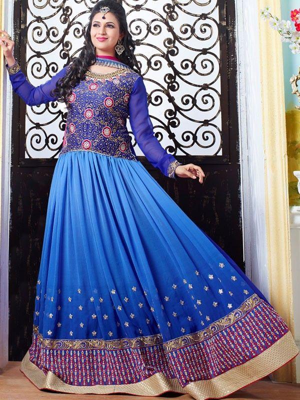 Divyanka Tripathi In Blue Colored Italiyan Crape Designer ...