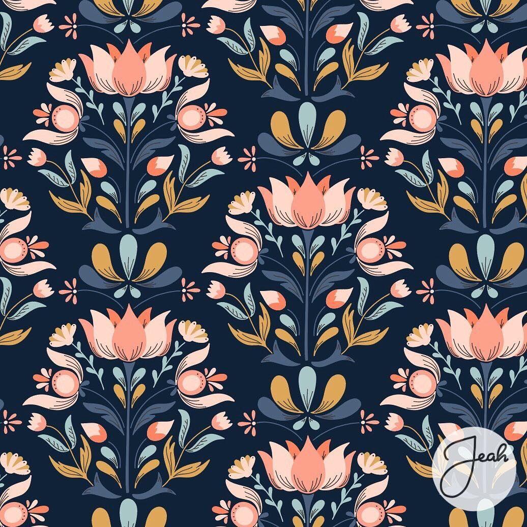 Scandinavian Folk Art Inspired Pattern By Jenni Ahlberg Scandinavianart Folklore Folkart Scandina Folk Art Flowers Folk Art Painting Scandinavian Folk Art