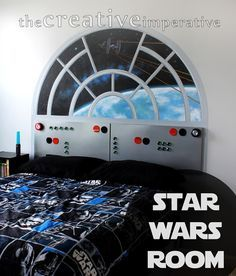 If you have a Star Wars fan in your house this in one of the most amazing Star War bedrooms I have ever see. star wars bedroom with millenium falcon control panel headboard