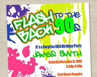 template 90s theme party party