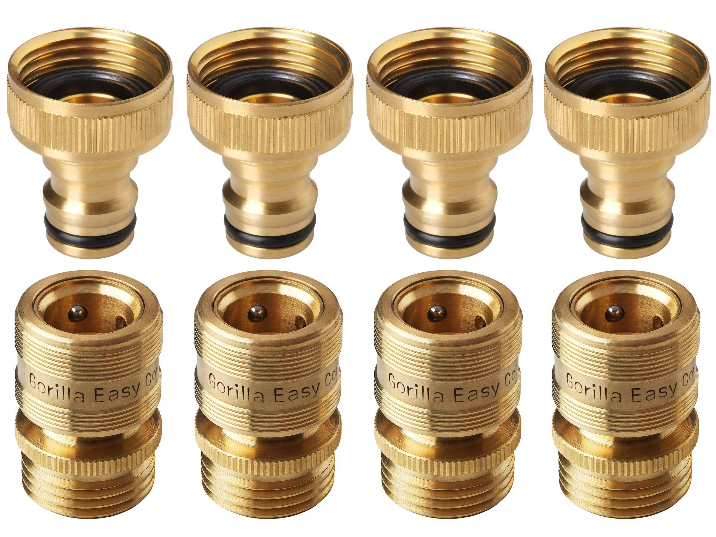 Gorilla Easy Connect Garden Hose Quick Connect Fittings A Inch Ght Solid Brass 4 Sets Of Male Female Connectors Amazing Gardens Garden Hose Garden Hoses