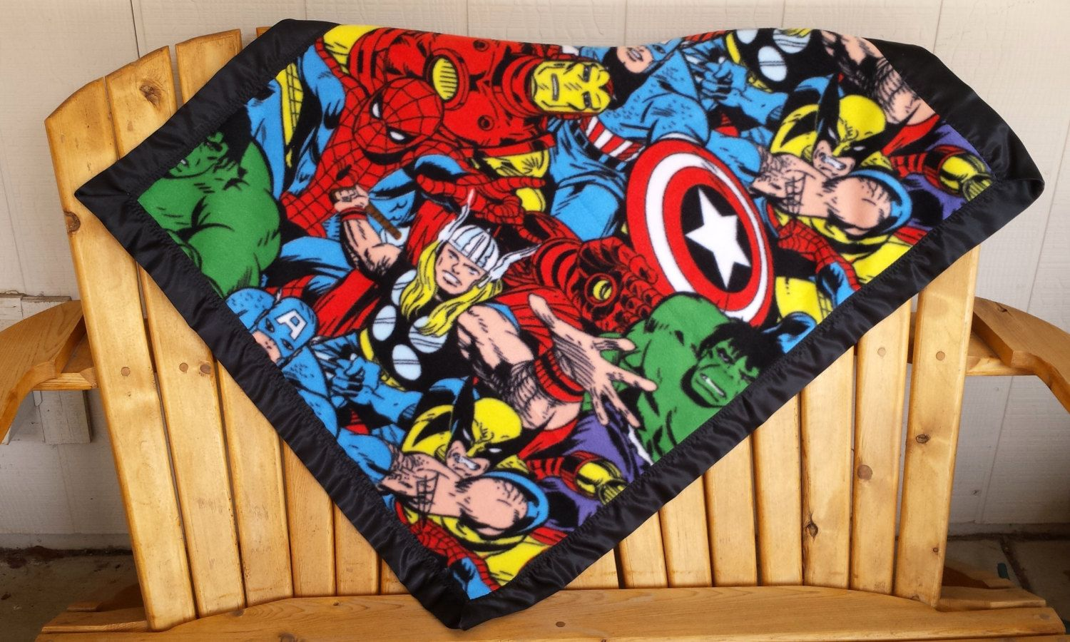 Marvel kawaii quilt with white bumpy minky backing ready to ship