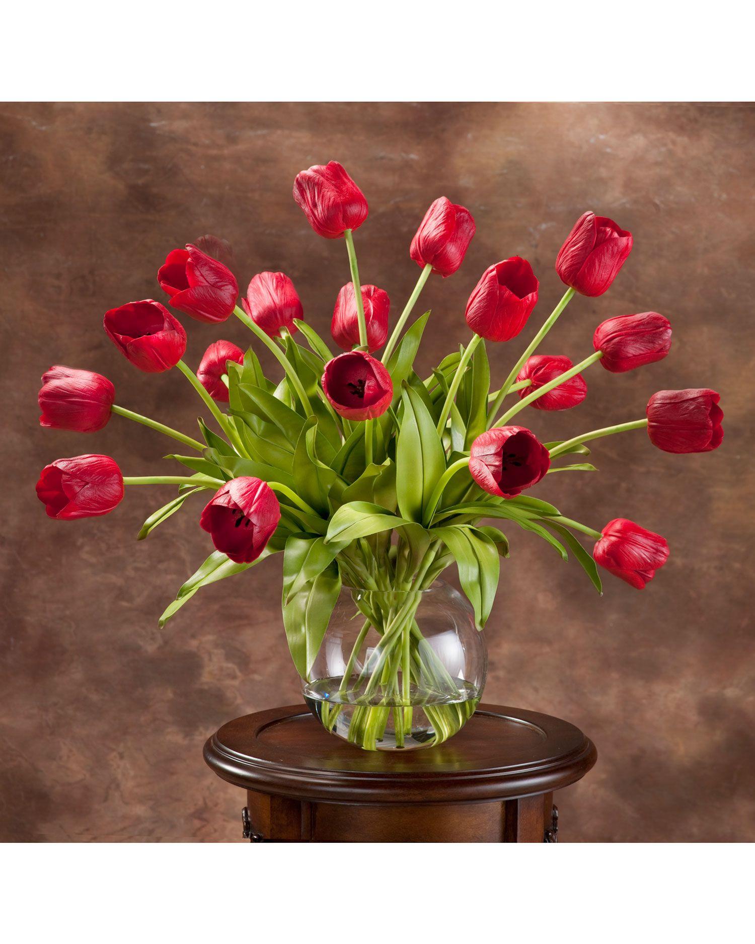 Abundance of tulips silk centerpiece red flower