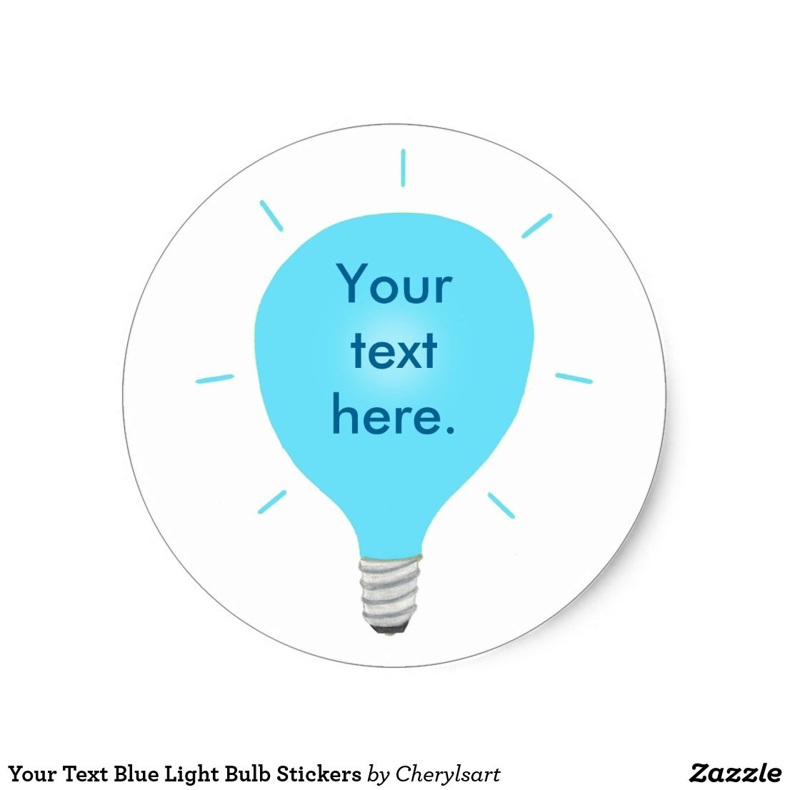 Your Text Blue Light Bulb Stickers