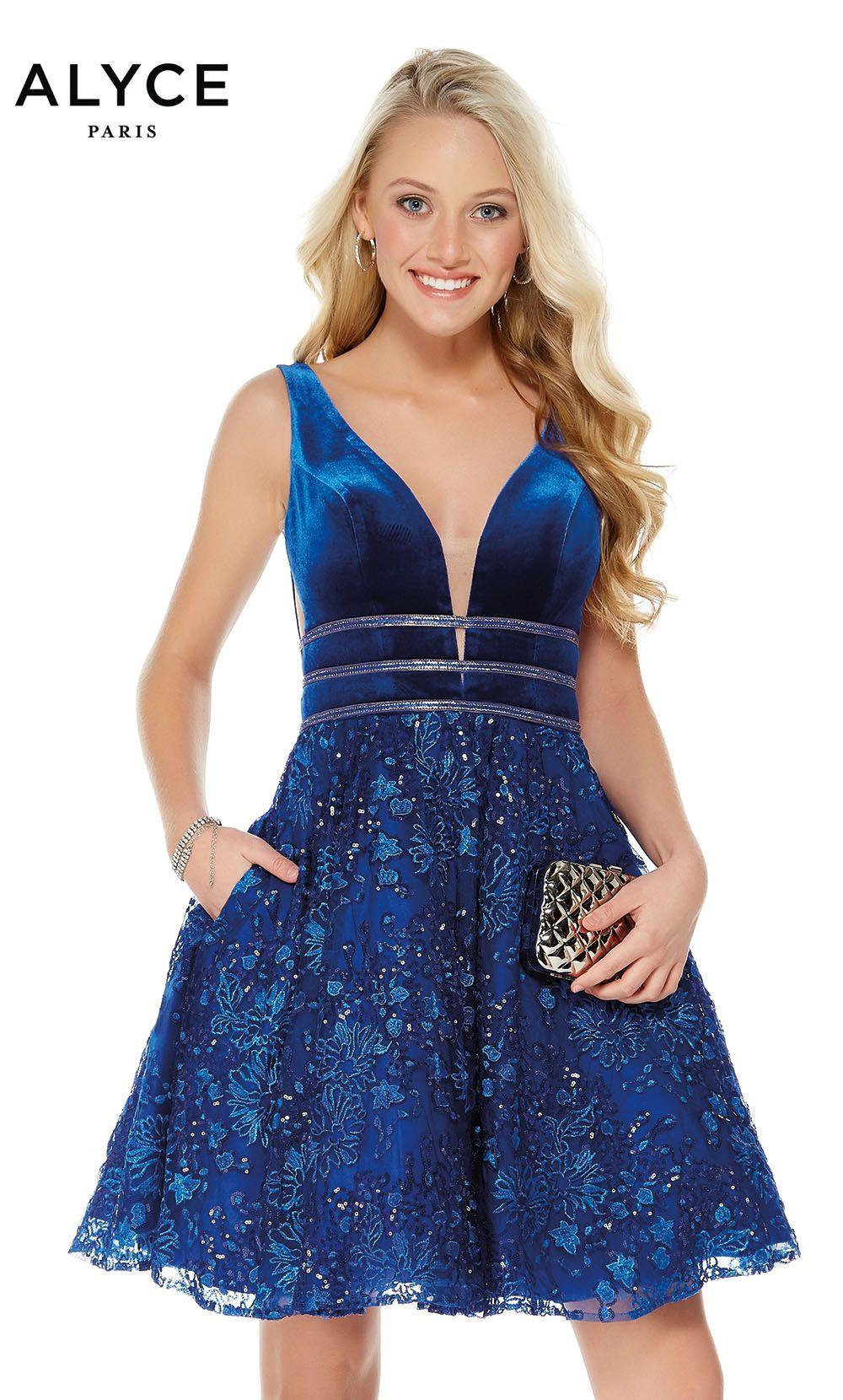 Alyce short skater dress with pockets deep v neckline and