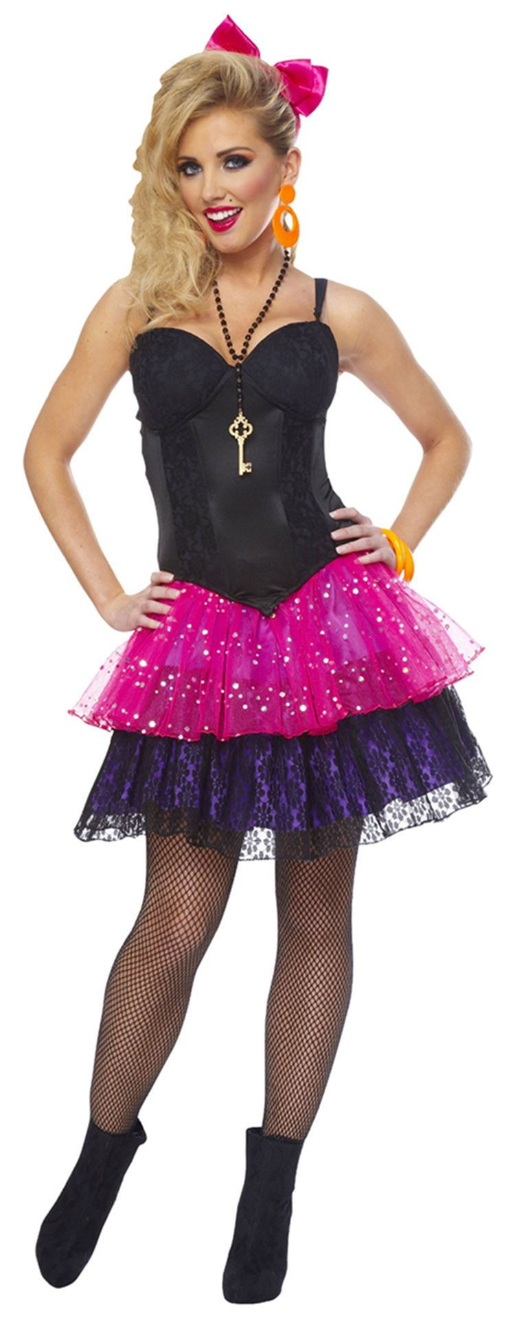 black 80s corset sexy costume eighties costumes - 80s Dancer Halloween Costume
