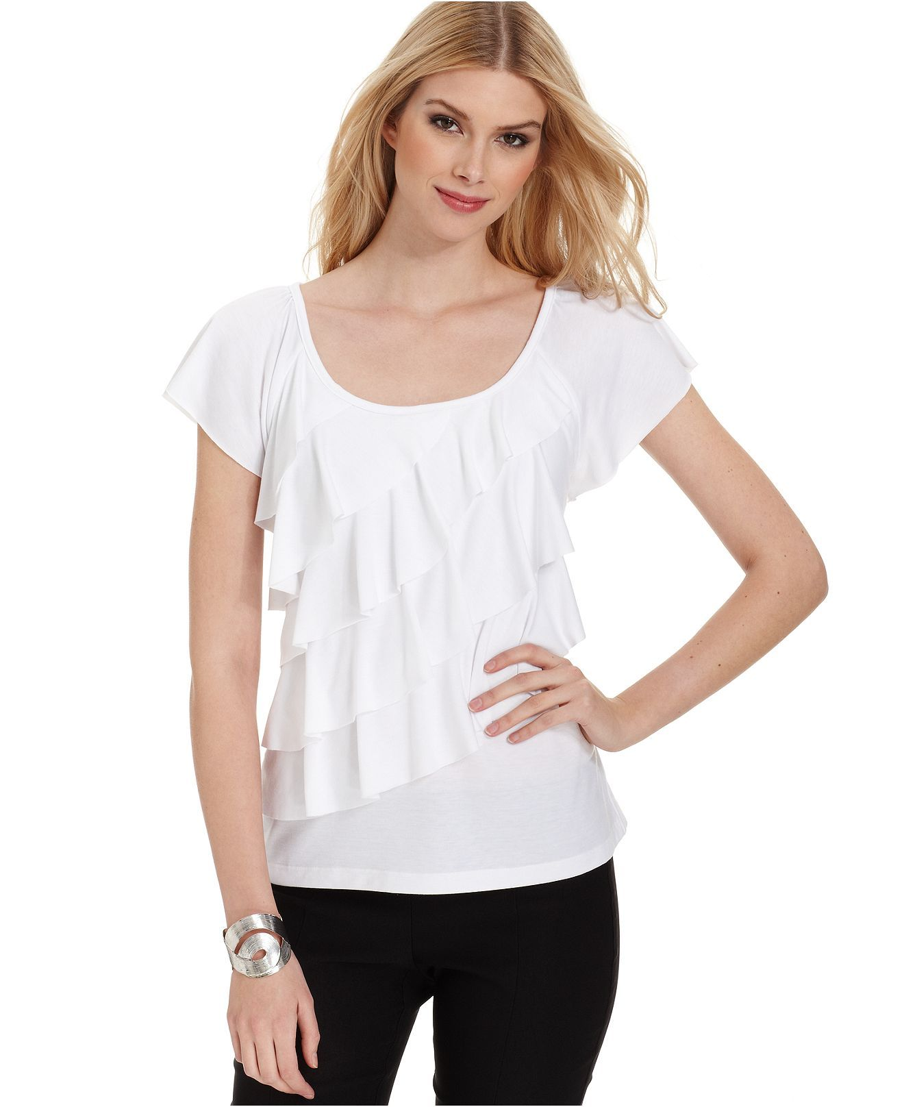 Agb Top Short Sleeve Ruffled Tiered Womens Tops Macy