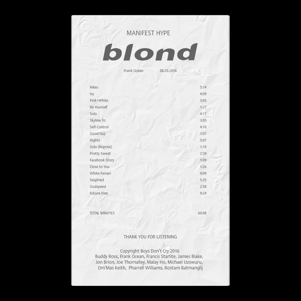 Blonde Frank Ocean Album Receipt Illustrator Template Download Blonde Album Frank Ocean Album Free Blonde