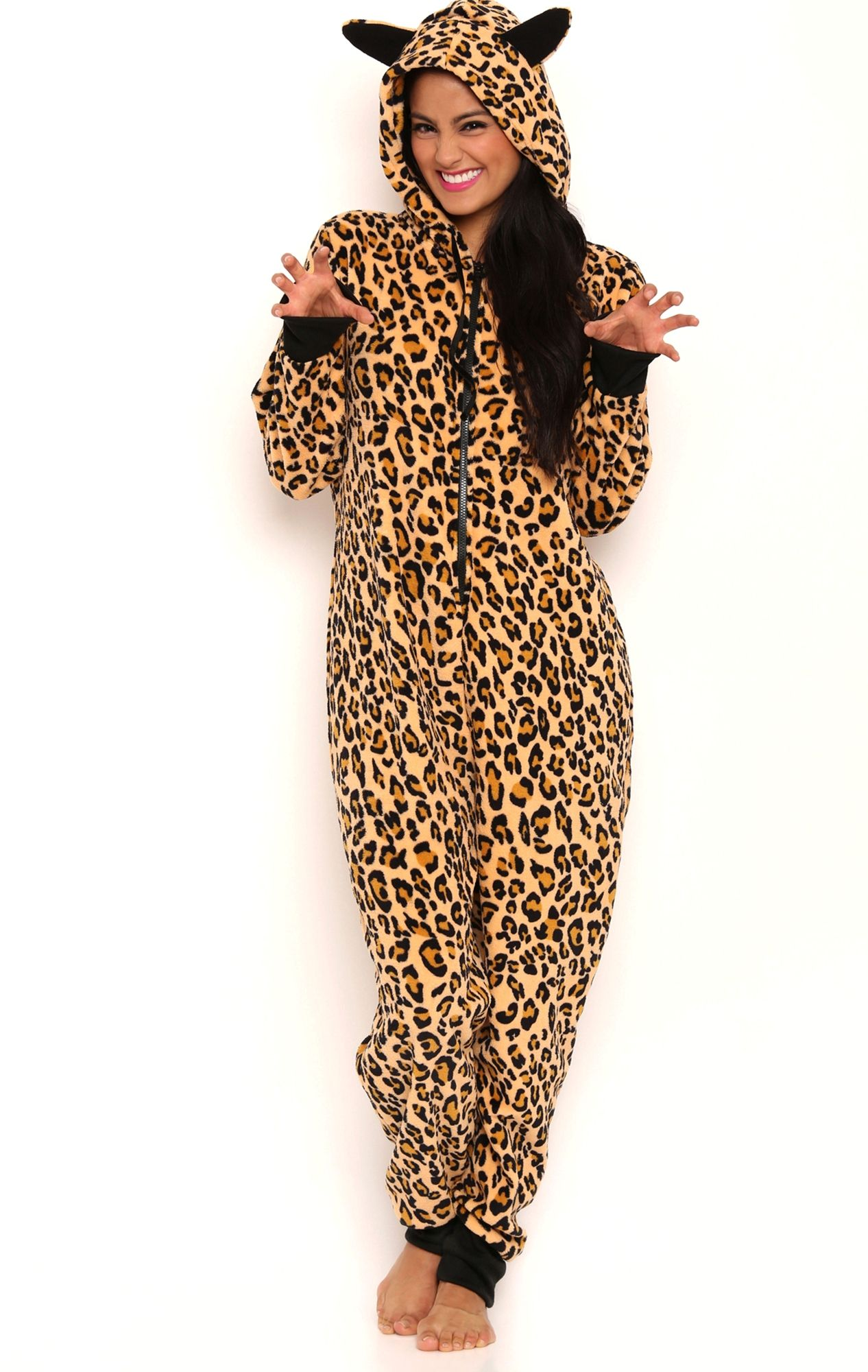 af0b7c719e Deb Shops Leopard Print Onesie with Ears