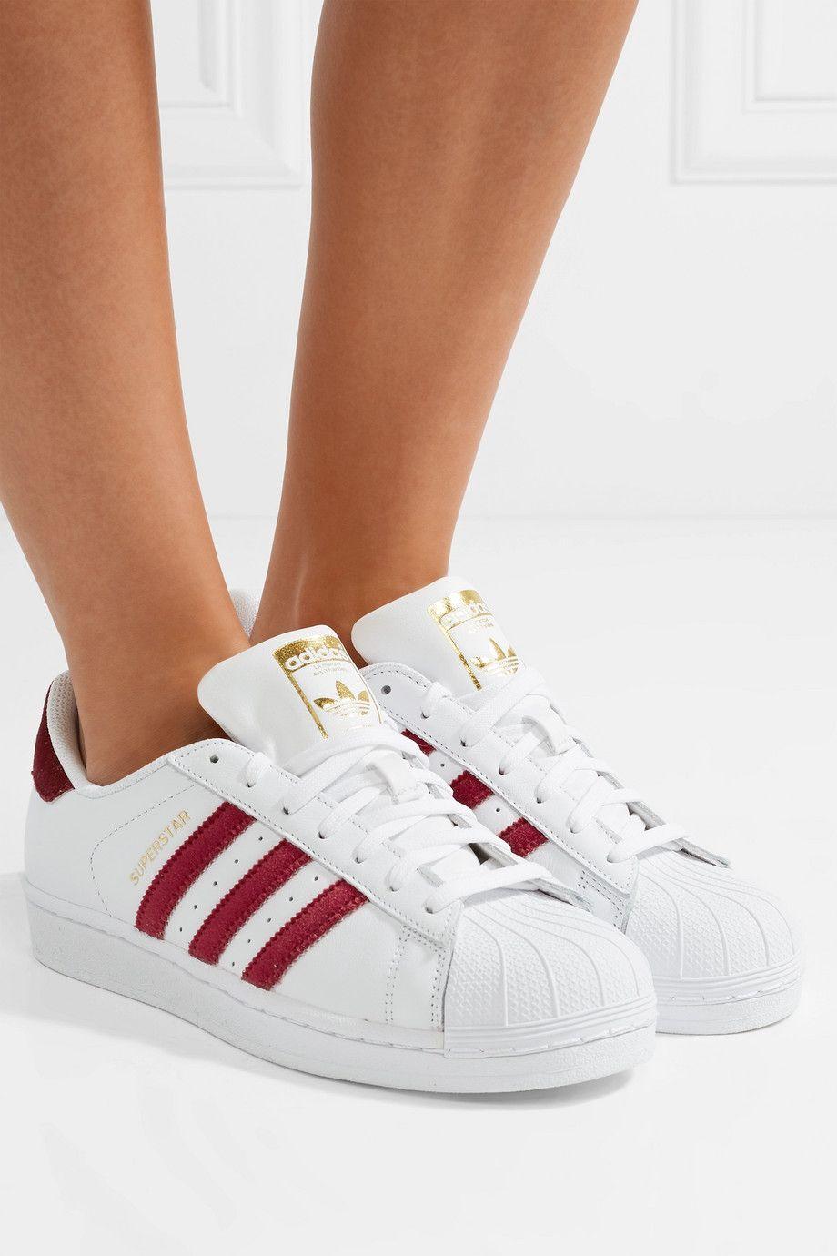 more photos 043e9 c46fd adidas Originals   Superstar velvet-trimmed leather sneakers    NET-A-PORTER.COM