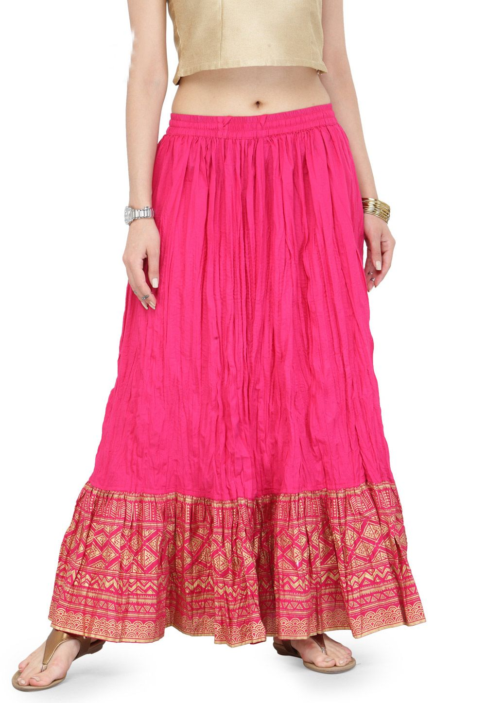 519f3e146 Buy Magenta Cotton Readymade Skirt 161245 online at lowest price from vast  collection at Indianclothstore.com.