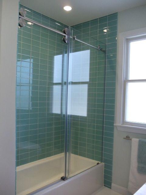 Green Tile Bathroom | Large Sage Green Glass Subway Tile Shower Walls