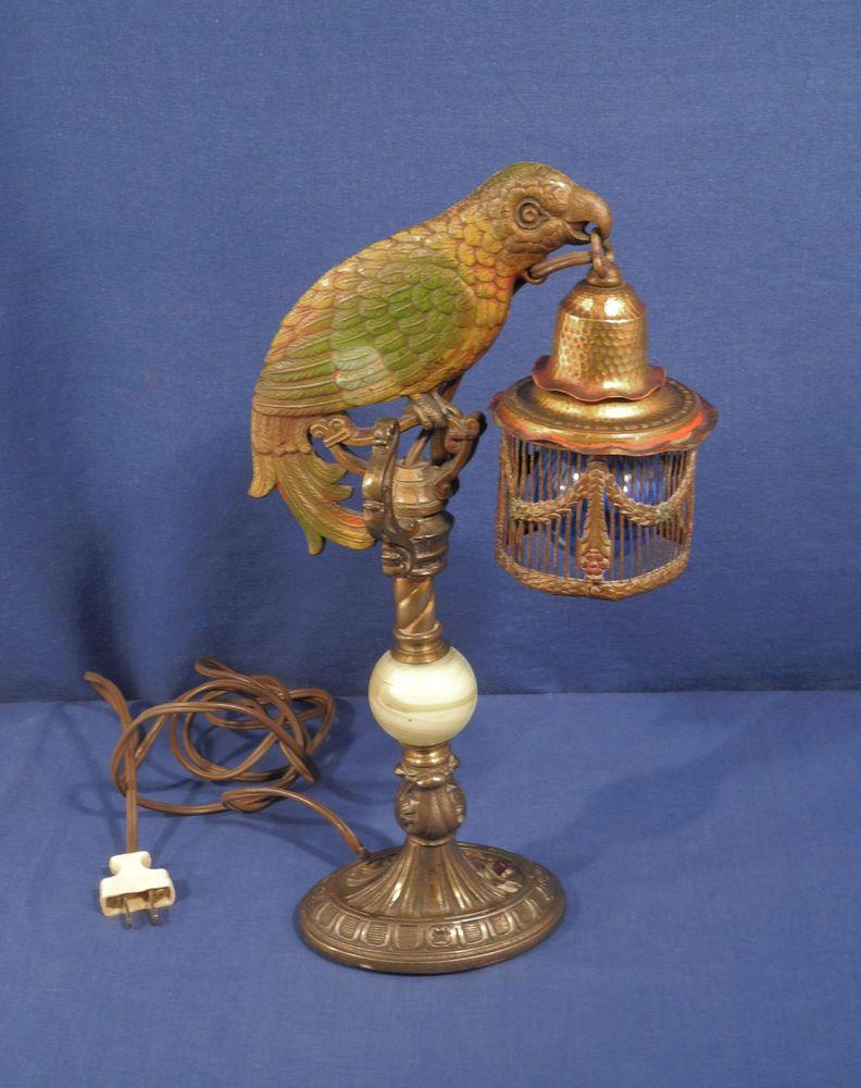 Vintage Antique Cast Iron Art Deco Parrot Lamp Original Paint Circa 1930 S Wow Iron Art Antique Cast Iron Vintage Antiques