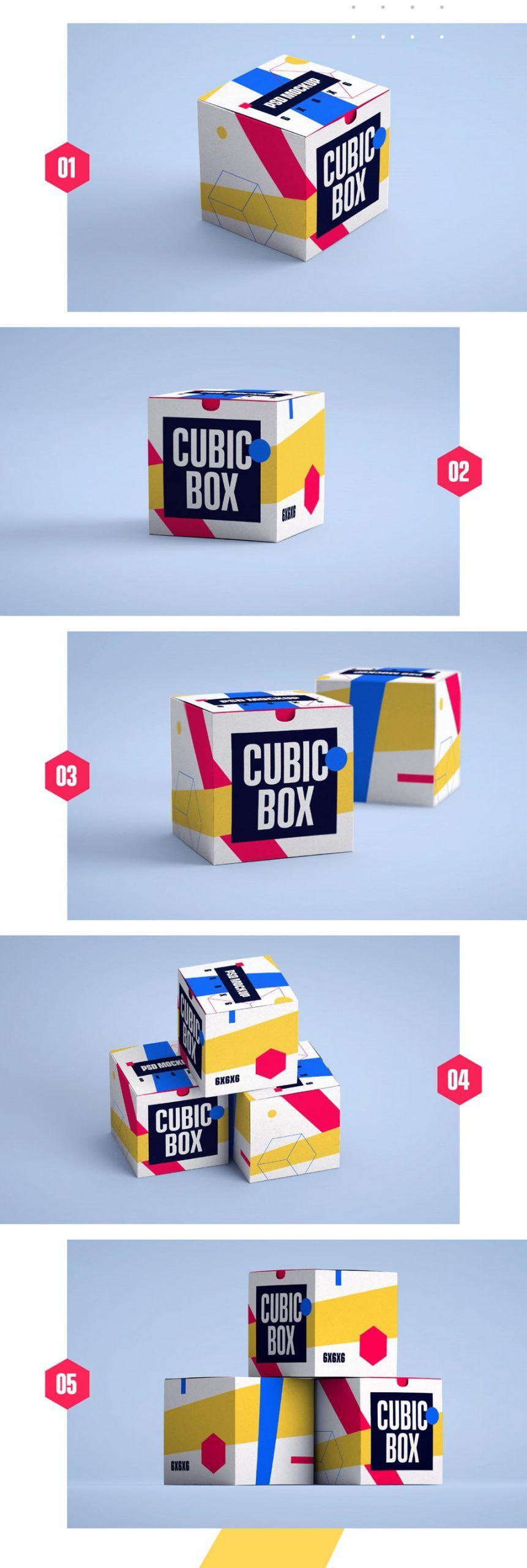 Download 5 Cubic Box Mockups Box Mockup Box Packaging Design Free Packaging Mockup