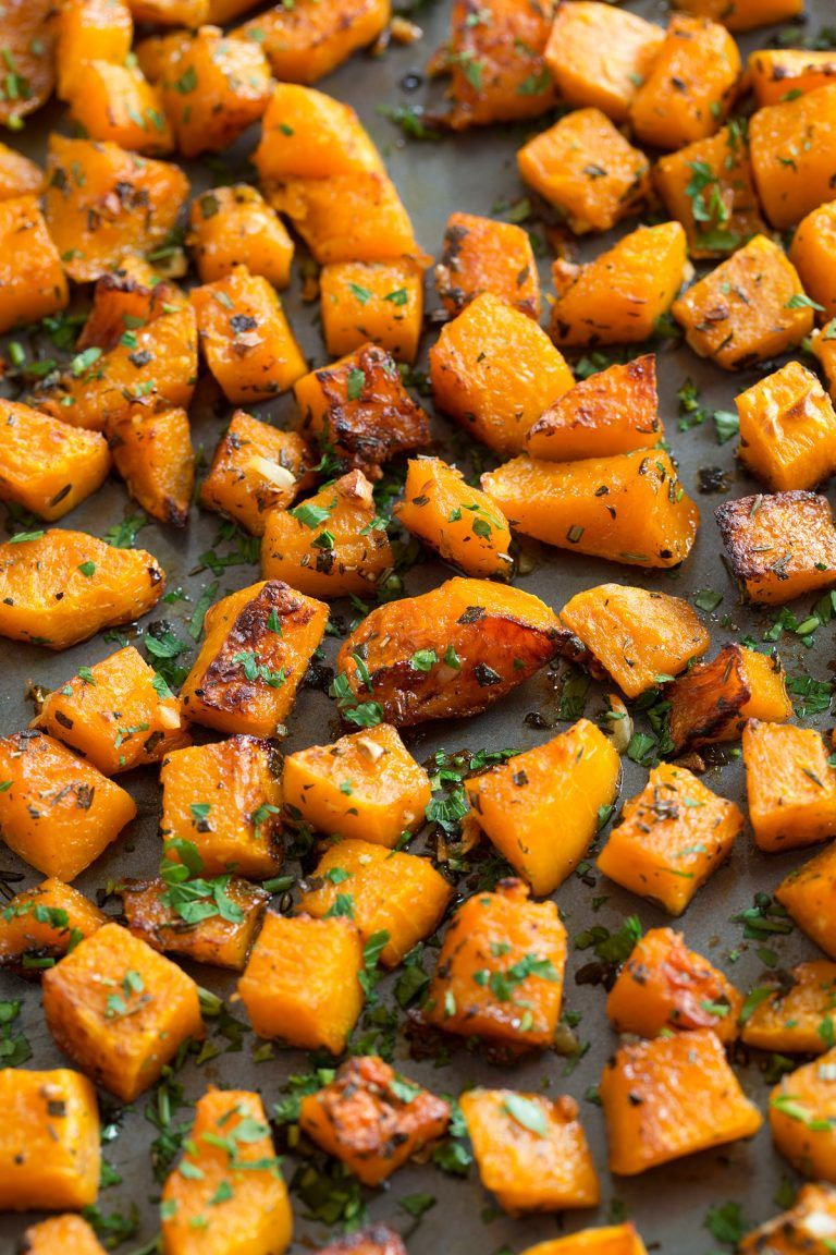 Roasted Butternut Squash with Garlic and Herbs food in