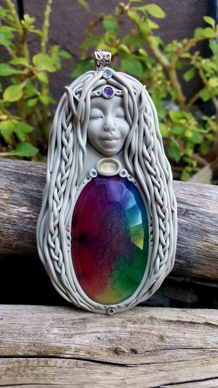 Solar quartz Amelia crystal clay pixie goddess pendant handcrafted by Wakee's Wares on facebook ✌