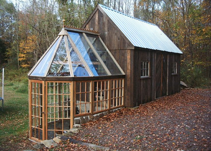This tiny barn greenhouse would make a fine tiny house Barn plans and outbuildings