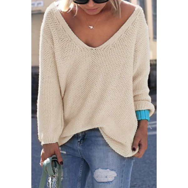 V Neck Loose Knit Jumper - Apricot - S | Drop, Ships and Clothes