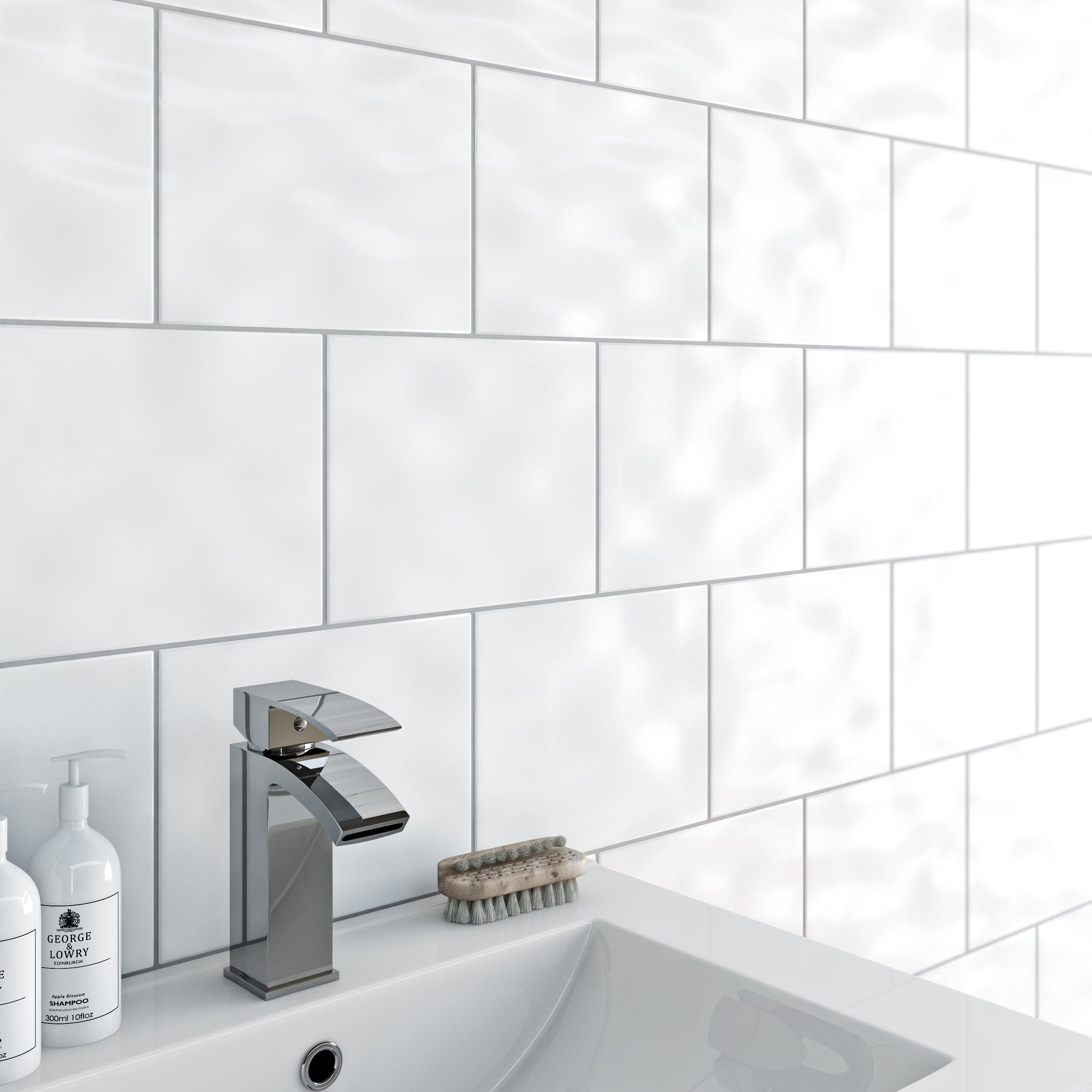 Clarity Bumpy White Gloss Tile 200mm X 250mm White Wall Tiles Bathroom Wall Tile White Bathroom Tiles