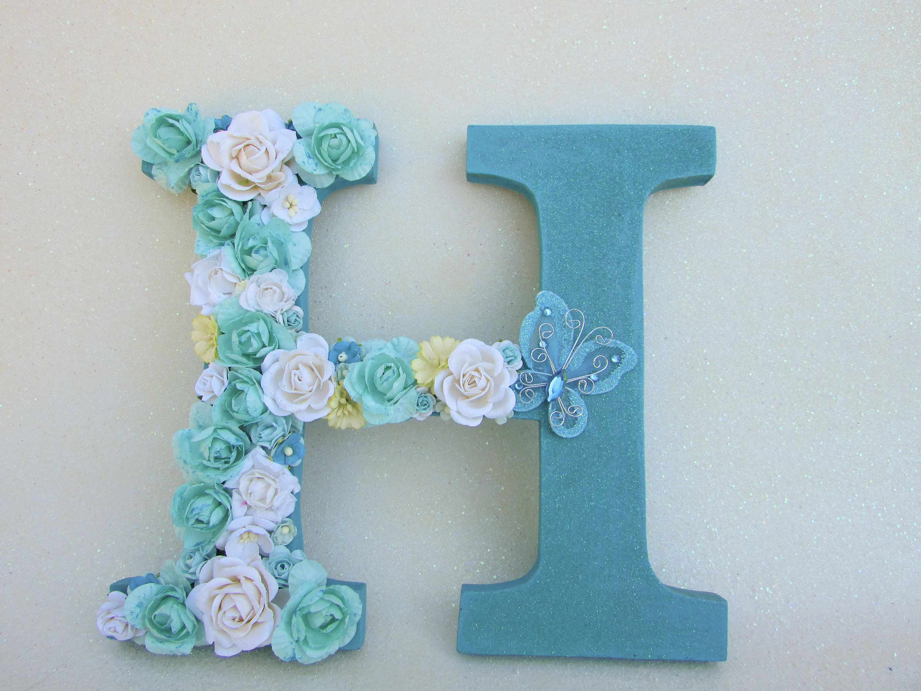Nursery wall letter  Baby shower present   Flower name letter