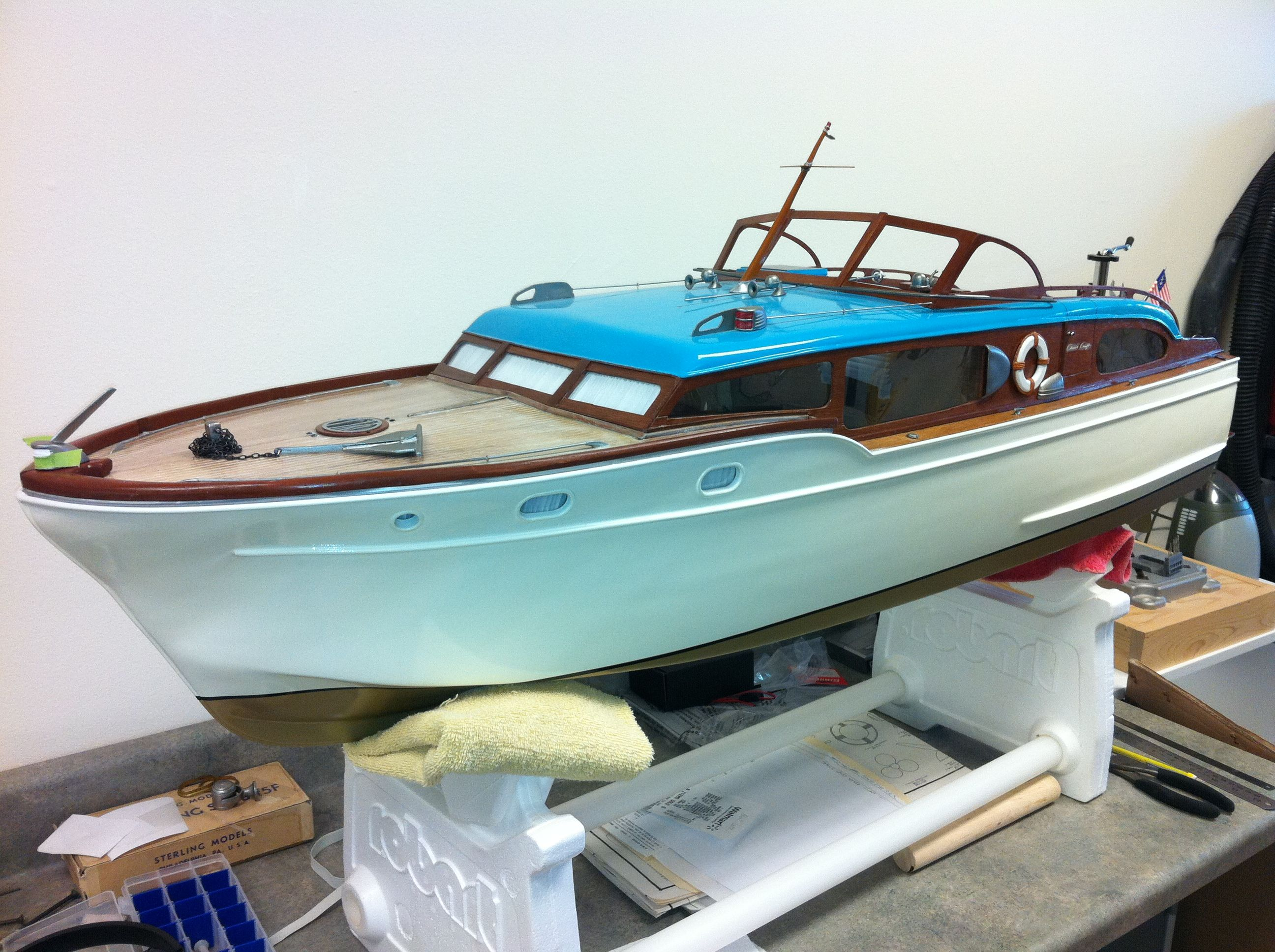 Model RC boat being built for a client