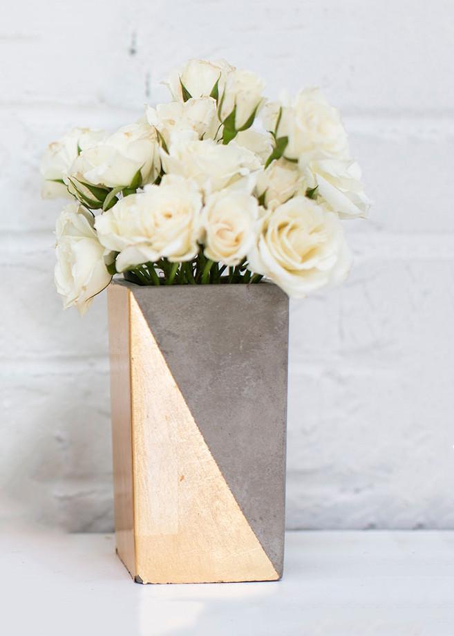 Tall Ceramic Paradox Rectangular Vase In Gold 625 Tall X 3 Wide