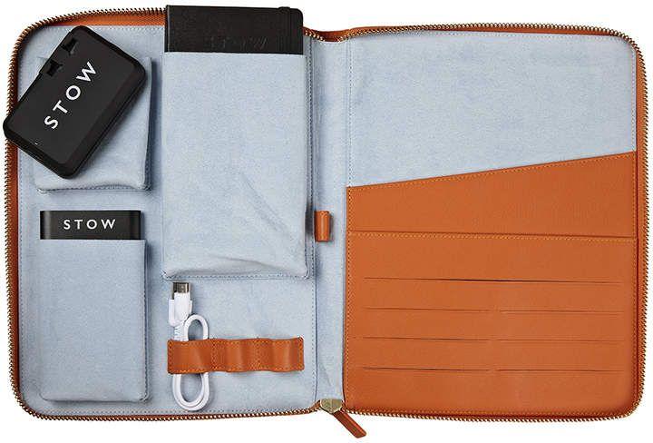 4dbe37e71 Amber Orange & Dusty Aqua STOW World Class Leather Tech Case ...