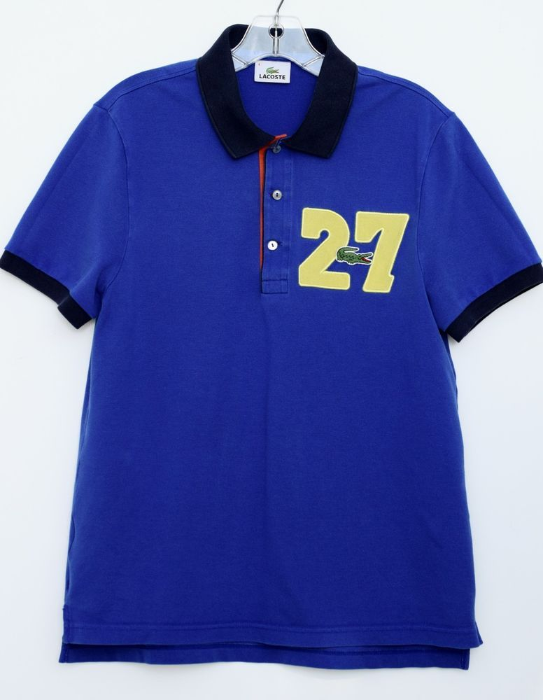 c73ae452bf2da LACOSTE 27 Blue Men s Short Sleeve Piqué Polo Shirt