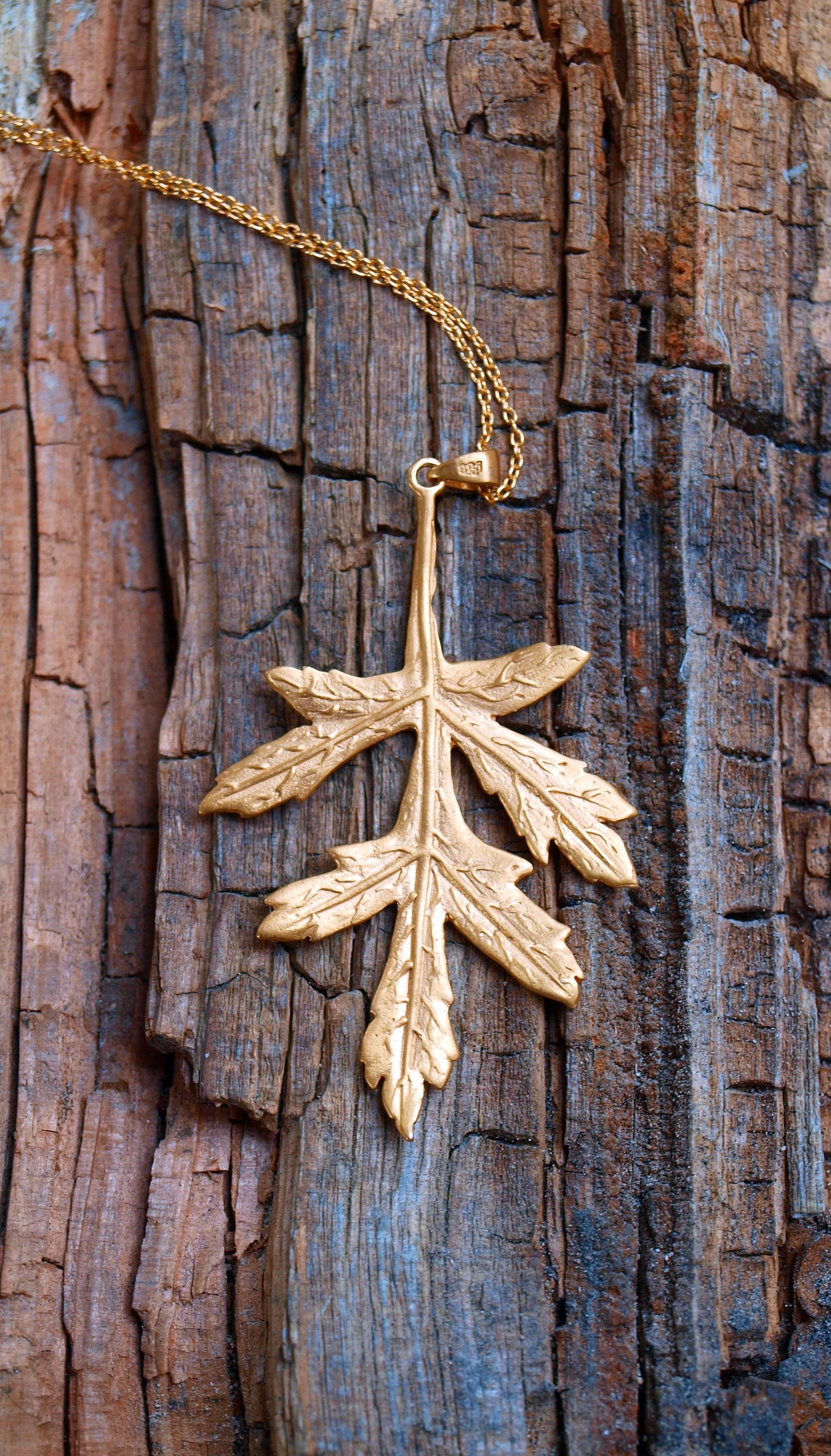 Pin oak leaf pendant - gold-plated sterling silver  The pin oak tree (Quercus palustris) isn't as well known as its English oak cousin but its feathery leaves make a stunning pendant